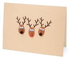 Thumbprint Reindeer   Homemade Christmas Card Ideas   A Homemade Christmas   FamilyFun