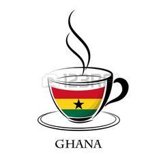 logotipo de café hecho de la bandera de Ghana.