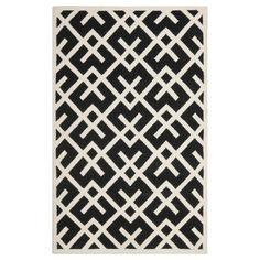 Dhurries Black Ivory Wool Rug $378 zinc door