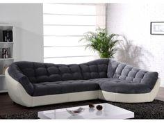 Canapé d'angle tissu et cuir LEANDRO - Gris et blanc ou Caramel et noir