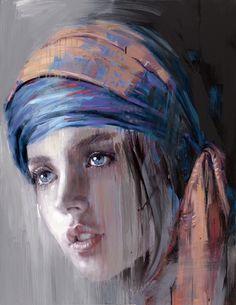 Painting by Nooshfar Vassei Soft Pastel Art Abstract Portrait, Watercolor Portraits, Portrait Art, Watercolor Paintings, Woman Painting, Painting & Drawing, Pastel Portraits, Human Art, Pastel Art