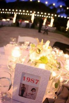 Love the old pictures on the tables idea!
