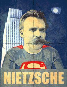Superman Friedrich Nietzsche Funny Poster