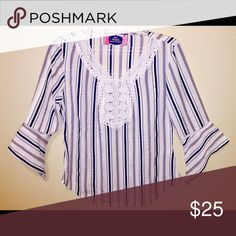 Stripe top with lace detail & 3/4 sleeves Lightweight top with lace detail on neckline and bell sleeves with detail. Vertical stripes with blue & pink accents. 100% Polyester. Tops Blouses