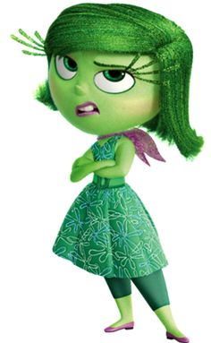DISGUST from Disney Pixars Inside Out. Love her expression and those bright green eyelashes. Voiced by Mindy Kaling.