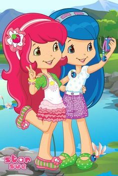 Strawberry Shortcake and Blueberry Muffin taking a picture together in a selfie of Blueberry Muffin's cell phone Strawberry Shortcake Pictures, Strawberry Shortcake Characters, Strawberry Shortcake Party, Blueberry Muffin Strawberry Shortcake, Cute Characters, Cartoon Characters, Fictional Characters, Cute Cartoon Wallpapers, Blue Berry Muffins