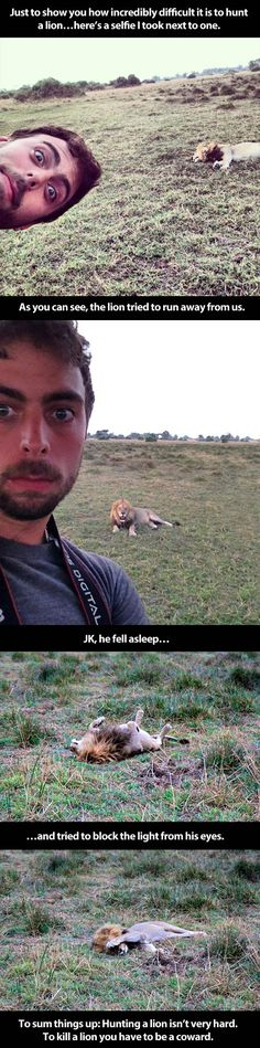 Why trophy hunters are loser liars: The Best Way Possible To Protest A Lion Hunt (click thru for full image and full story, it's precious!)
