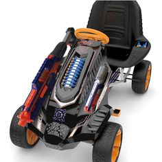 The Hauck Nerf Battle Racer Ride-On Pedal Go-Kart gives children an exhilarating riding experience. Innovative design boasts space for Nerf blasters, brackets and darts. Go Kart, Mad Max, Triumph Motorcycles, Arma Nerf, Pistola Nerf, Ducati, Cool Nerf Guns, Motocross, Nerf Darts