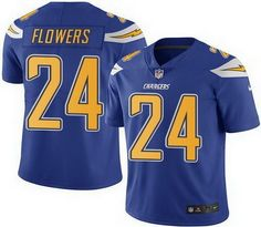 Nike Chargers #24 Brandon Flowers Electric Blue Men's Stitched NFL Limited Rush Jersey