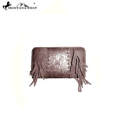 Montana West MW124-W003 Tooled With Fringe Wallet
