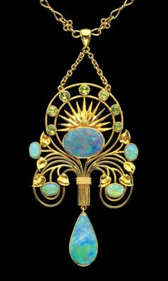William Thomas Pavitt, gold, opal and periodot pendant, c. 1905