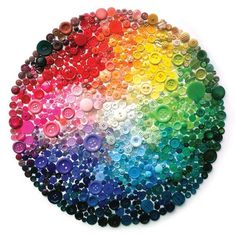 Rainbow Button Art. Could be fun for toddler pre-K project.
