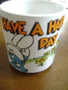 SMURFS Coffee Mug Cup Tea Have A Happy Day VTG 1980's Butterfly &  Flowers