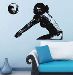 Wall Vinyl Decal Sticker Sport Girl Playing Volleyball Mural Interior Decor m128
