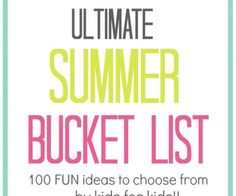 The Ultimate Summer Bucket List - by kids for kids! The Ultimate Summer Bucket List - by kids for kids! Craft Activities For Kids, Summer Activities, Family Activities, Indoor Activities, Nursery Activities, Family Crafts, Holiday Activities, Sensory Activities, Kid Crafts