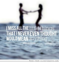 I miss all the little things that I never even thought would mean anything. #life #quotes #lifequotes