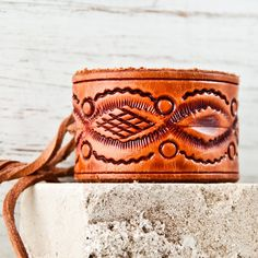 Leather Cuff Bracelet - tooled leather