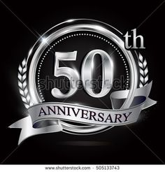 logo of the 50th anniversary celebration isolated with silver ring and ribbon.