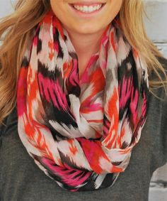 Another great find on #zulily! Fuchsia & Orange Abstract Infinity Scarf #zulilyfinds