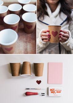DIY: heart stamp cups
