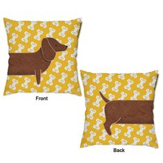 What a good boy! This Dachshund and Dog Bones Throw Pillow features an adorable brown dachshund dog's front half with a golden yellow background filled with white dog bones and is perfect for pet lovers. The backside features the back end of the dog with his little tail wagging and the same dog bone printed white and yellow background. This delightful dog inspired throw pillow is oh-so-cuddly soft and makes a great accent piece for your child's animal themed room or pet room decor! Choose…