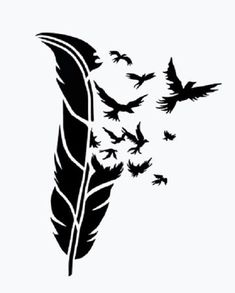 BIRDS of a FEATHER stencil airbrush tattoo. Silhouette Cameo, Silhouette Projects, Silhouette Portrait, Woman Silhouette, Feather Stencil, Stencil Art, Animal Stencil, Bird Stencil, Tattoo Feather