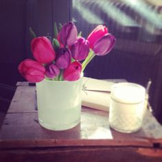 Candle jar repurposed #reuse #recycle #upcycle #repurposing #soy #soywax #candle #maisonblanchecandles #tulips #afternoonsun #pink #purple