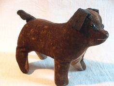 Folk art velvet toy dog.