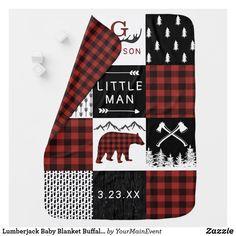 Lumberjack Baby Blanket Buffalo Plaid Bear Nursery Red Nursery, Plaid Nursery, Themed Nursery, Nursery Decor, Soft Baby Blankets, Baby Invitations, Personalized Baby Blankets, Baby Boy Nurseries, Cool Patterns