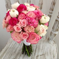 Pink wedding bouquet.