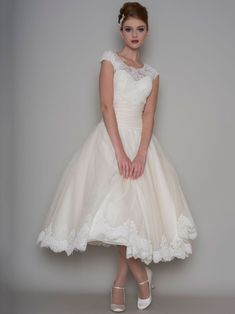 Shop affordable Tea-Length A-Line Scoop Neck Appliqued Cap Sleeve Tulle Wedding Dress at June Bridals! Over 8000 Chic wedding, bridesmaid, prom dresses & more are on hot sale. Modest Wedding Dresses, Tulle Wedding, Designer Wedding Dresses, Bridal Dresses, Wedding Gowns, Bridesmaid Dresses, Wedding Pics, Rockabilly Wedding Dresses, Reception Dresses