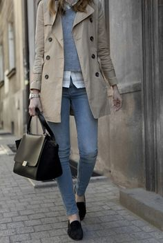 camel, black shoes + purse, denim and white shirt.