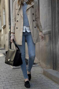 camel, black shoes + purse, denim and white shirt.
