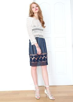 Fashion destination for sophisticated and playful fashionistas. Sophisticated Fun! Cubicle Space Skirt-Navy Sophisticated Fun!