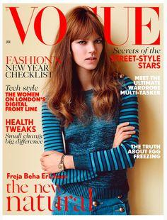 Freja Beha Erichsen es la portada de la edición de Ener 2015 de Vogue UK.