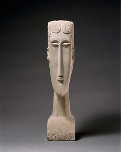 """Amedeo #Modigliani, born on this day in 1884, created this """"Woman's Head"""" sculpture in 1912. http://met.org/1J9jkOK"""