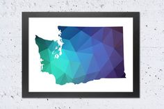 Washington Map Printable File, Washington Silhouette Geometric Green Blue Purple Colors.  **This listing is for a downloadable digital file to