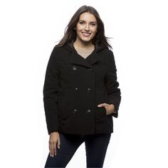 Excelled Women's Faux Hooded Peacoat