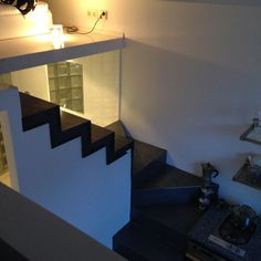 Kitchen table and stairs to upstairs.