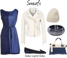 Fandom Inspired Fashion: Smurfs Inspired Outfit. For this outfit I used the #blue and #white color scheme of the cute #cartoon #characters the #Smurfs. Blue color block dress and flats. White #leather #jacket and #winter #knit #hat, which is similar to what the smurfs wear. Blue and white #bracelet and #handbag.