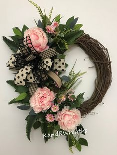 34S19 Spring Wreath. Pink Peony Wreath. Spring Floral Wreath. Spring Decor. Floral Decor. Front Door Wreath. Home Decor. by KandRWreaths on Etsy Summer Door Wreaths, Easter Wreaths, Fall Wreaths, Wreaths For Front Door, Christmas Wreaths, Fabric Wreath, Diy Wreath, Grapevine Wreath, Year Round Wreath
