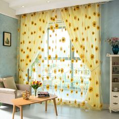 Yellow Room Decor, Yellow Kitchen Decor, Room Ideas Bedroom, Bedroom Decor, Sunflower Room, Tulle Curtains, Bed Drapes, Small Window Curtains, Small Windows