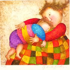 """Artist: Graciela Rodo Boulanger     Title: """"Amour tendresse""""     Medium: Lithograph     Edition: Limited Edition 781/1000, Hand Signed     Size: 9"""" x 91/2""""     Framed: Yes - 26""""x30"""""""