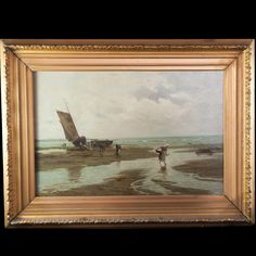 Lot #192: Tom Seymour (England 1844-1904) Oil on Canvas  This Oil on Canvas Painting by Tom Seymour depicts a tide that has receded and a ship that has washed ashore. Late Victorian Era. The Painting is surrounded by a gilded wood frame. His works are regularly featured in Hislop's Guide to the UK Art Market  CIRCA: Late 19th ORIGIN: British DIMENSIONS: 31″ x 23″
