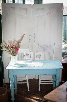 Vintage Blue Painters Table Sign In Shabby Chic His And Hers Chairs