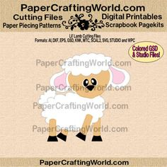 "Lil' Lamb ""SVG-Type"" Cutting files in: AI, DXF, EPS, COLORED GSD, KNK, MTC, SCAL2, SVG, STUDIO and WPC formats.   http://www.papercraftingworld.com/item_1192/Lil-Lamb-CF.htm"