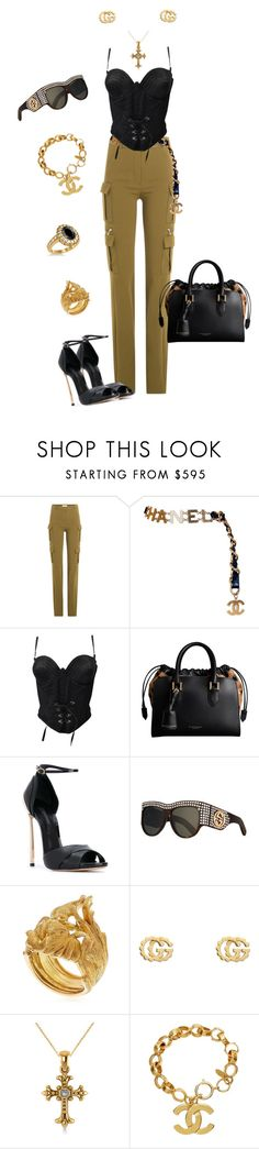 """Street Chic"" by jeunesauvage ❤ liked on Polyvore featuring Thierry Mugler, Chanel, Versace, Burberry, Casadei, Gucci, Vanzi and Allurez"