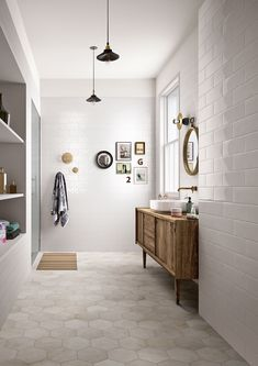We like this colour combination of the walnut wood, light grey floor and white walls and sink. Do the floor tiles and subway tiles go together? They seem to. Peter is skeptical about hexagonal floor tiles but open to the idea so long as they are biggish.