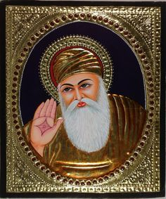 Your decor will bear a sophisticated and cultured look when adorned with this striking Tanjore painting featuring the founder of the Sikh religion, Guru Nanak. Mughal Paintings, Tanjore Painting, Indian Paintings, Farmer Painting, Guru Nanak Wallpaper, Nanak Dev Ji, Rajasthani Art, Flower Phone Wallpaper, Hd Wallpaper