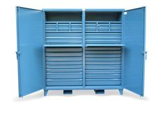 Cabinet with 35 Drawers and 2 Slide Out Shelves - Double shift drawer cabinet with 2 slid out shelves. Solid doors are lockable with a padlock using our standard 3-point locking system.